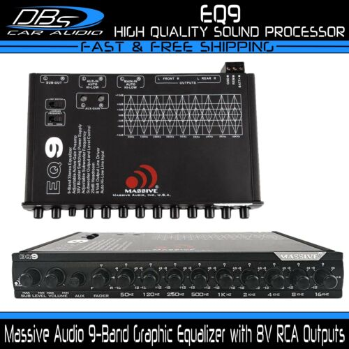 Massive EQ9 9 Band Car Audio Graphic Equalizer 6ch 7 Volt Rca Outputs In Dash EQ