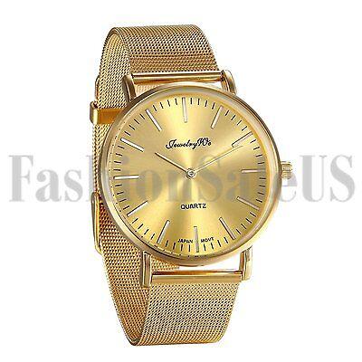 Men's Gold Tone Stainless Steel Ultrathin Mesh Band Quartz Analog Wrist Watch