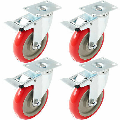 4 Pack 5 Caster Wheels Swivel Plate Total Lock Brake Red Polyurethane