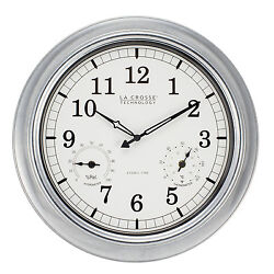 BBB87740 La Crosse Technology 18 Indoor/Outdoor Atomic Wall Clock - Galvanized