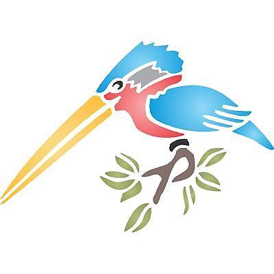 Kingfisher Bird Stencil Reusable Wall Painting Template Fabric Furniture Glass
