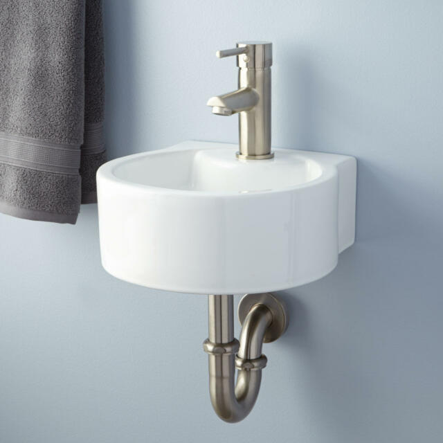 Bathroom Sinks On Ebay signature hardware finn porcelain wall mount bathroom sink | ebay