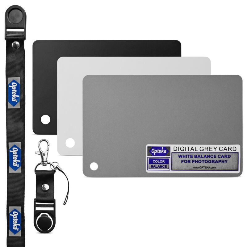 Opteka Pocket-Sized Grey White Balance Card 18% Exposure Kit for DSLR Cameras