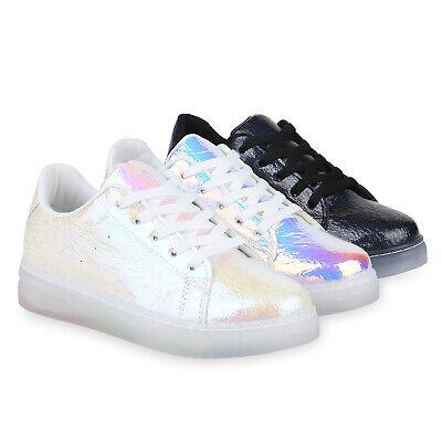 Damen Plateau Sneaker Holo Turnschuhe Lack Metallic Freizeitschuhe 830102 Schuhe