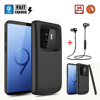 For Samsung Galaxy S8/ S9+ Plus Battery Charger Charging Case Power Bank+Headset