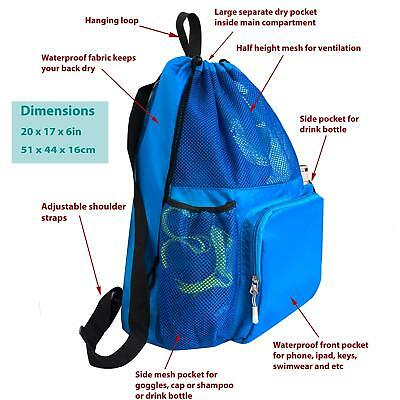 0acef1c01ff Large Swimming Equipment Mesh Bag, Gym Backpack, Separated Waterproof Dry  Pocket