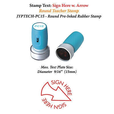 Sign Here W. Arrow -pc15 Pre-inked Rubber Stamp Red Ink