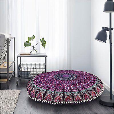 Floor Pillow Mandala Bohemian Indian Sitting Cushion Cover RoundThrow Pouf Cover ()