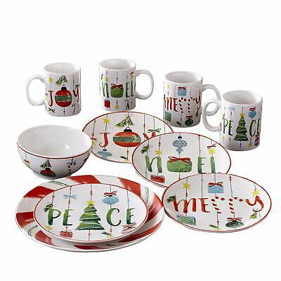 American Atelier Holiday Dinnerware Set – 16-Piece Christmas Themed Stoneware Christmas Holiday Dinnerware