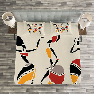 African Woman Quilted Bedspread & Pillow Shams Set, Native D