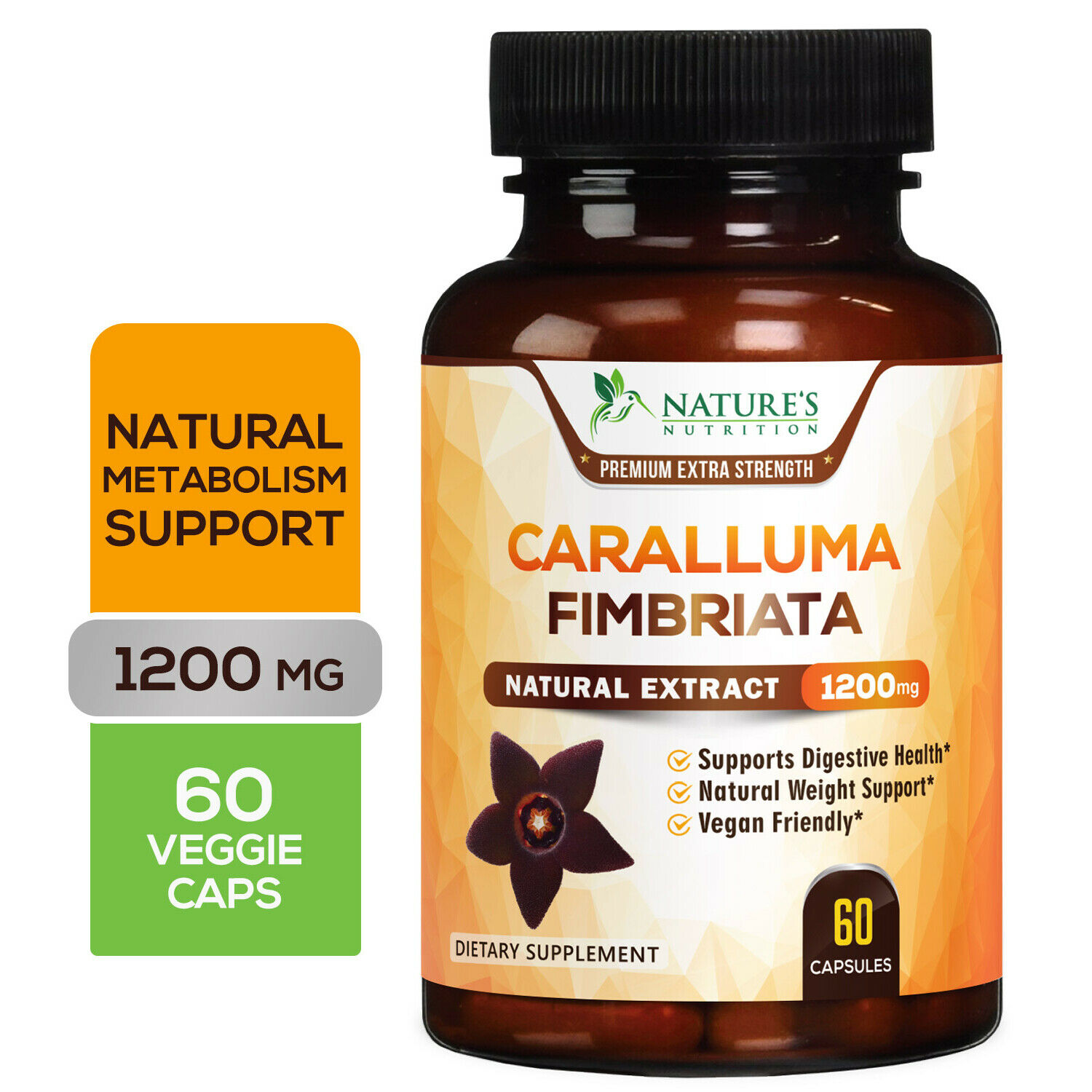 100% Pure Caralluma Fimbriata 1200mg Highest Potency Natural Weight Loss Diet