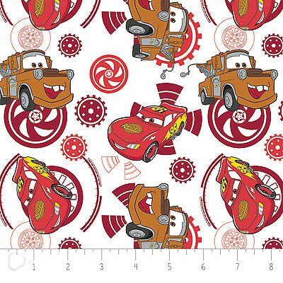 Disney Pixar Cars Fabric - Disney Pixar Cars Gears in Ruby Camelot 100% cotton fabric by the yard
