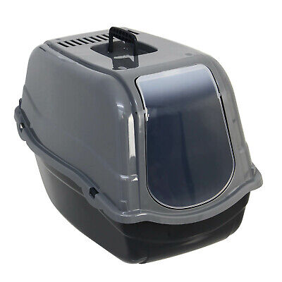 Grey Portable Hooded Cat Litter Box Covered Tray Hand Carry Travel Pet Toilet