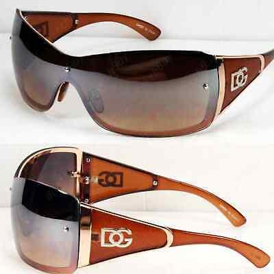 New Shield Womens Designer Sunglasses Fashion Shades Wrap Around Brown (Shield Shades)