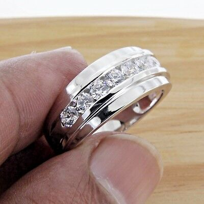 14k Mens Diamond Rings - 14k White Gold Over 1 Ct Men's Round Cut White Diamond Wedding Band Ring