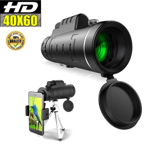 40X60 Zoom Optical HD Monocular Telescope+Tripod+Clip for Ou