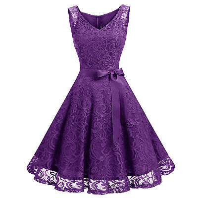 Women's V-Neck Floral Lace Overlay Swing Dress Bridesmaid Prom Cocktail - Dresses Lace Overlay