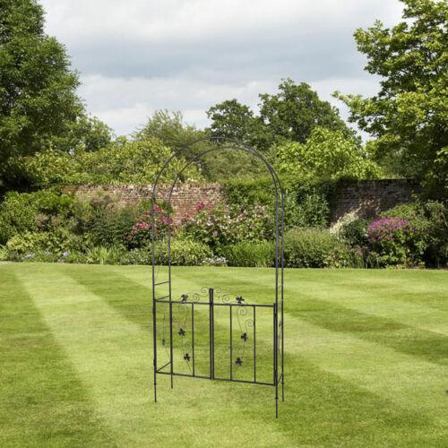 Outdoor Metal Arch Garden Arbor With Door For Climbing Plant Growing Backyard
