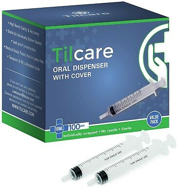 10ml Oral Dispenser With Cover 100 Pack By Tilcare - Sterile Plastic Medicine...