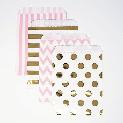48 Polka Dot Chevron Pink and Gold Food Candy Treat Party Favor Bags 5x7 Gift - Polka Dot Party Bags