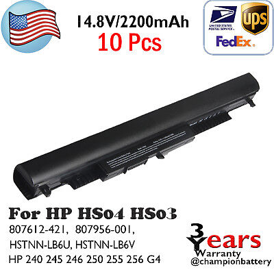 10Pcs Battery HS03 HS04 for HP 240 245 246 250 255 256 G4 Series Notebook 14 15