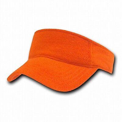 Golf Terry Visor - Light Orange Terry Cloth Golf Tennis Plain Adjustable Sun Visor Cap Hat Hats