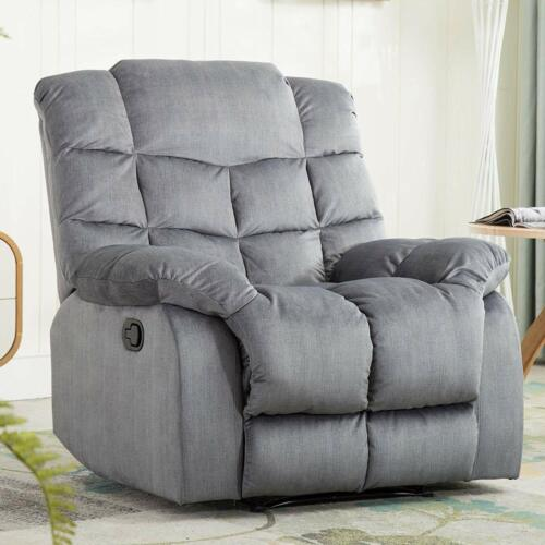 Manual Recliner Chair Overstuffed Reclining Single Living Ro