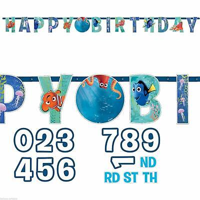 Finding Dory Happy Birthday Party Banner Nemo . Add Any Age 1.4m /4.7 Feet ()