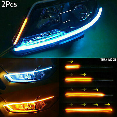 Car Parts - 2x Sequential LED Strip Turn Signal Indicator DRL Daytime Running Lights for Car