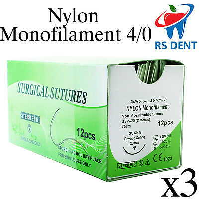 3 Dental Nylon Suture 40 For Medical Laboratory Teaching Student Practice 12pcs