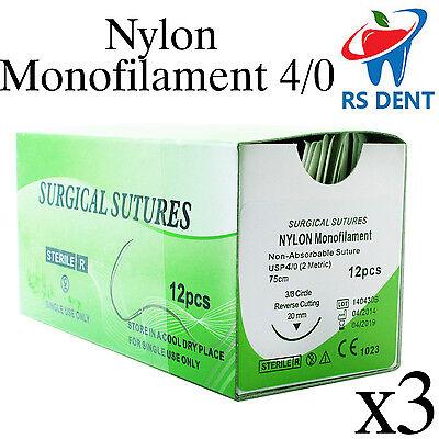3 Dental Nylon Suture 40 For Medical Laboratory Teaching Student Practice 12pcs