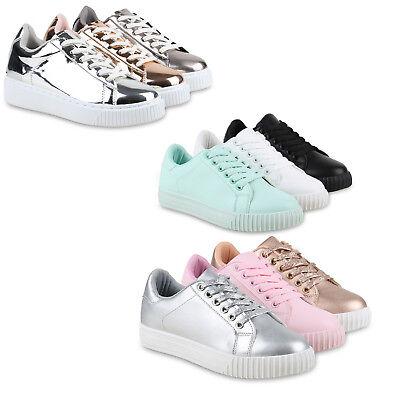 Damen Sneakers Basic Sportschuhe Schnürer Leder-Optik 814528 Schuhe