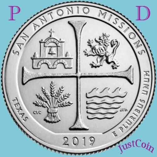 2019 P&D SAN ANTONIO MISSIONS (TX) NATIONAL PARK TWO UNCIRCULATED QUARTERS