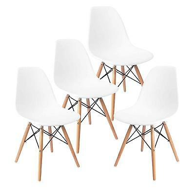 Modern Set of 4 Mid Century DSW Dining Side Chairs Wood Legs Dining Room White Dining Room Set Folding Chair