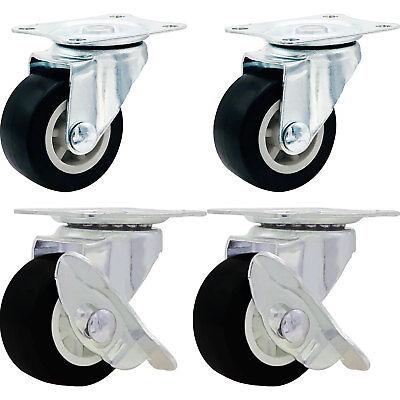 4 Pack 1.5 Low Profile Casters Wheels Rubber Swivel W Side Brake Black Combo