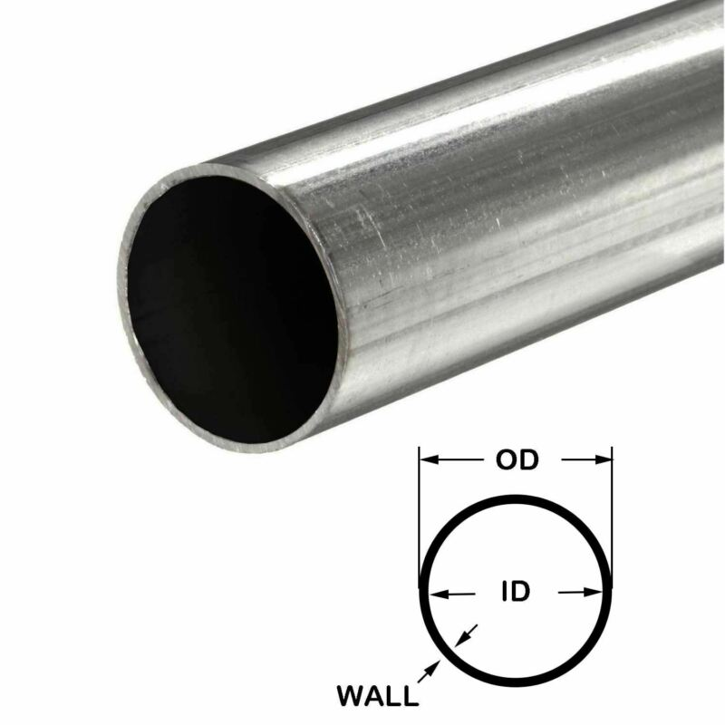 "316 Stainless Steel Round Tube, 3/8"" OD x 0.035"" Wall x 12"" long, Seamless"