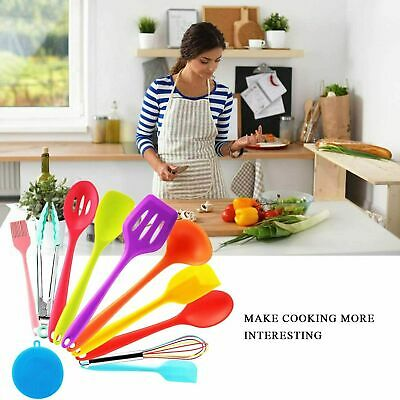 Silicone Kitchen Utensils 10 Piece Non-Stick Cooking Tools Spatula Spoon Kits