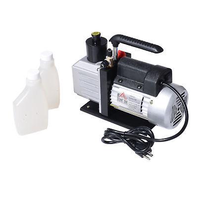 Single Stage Vacuum Pump Rotary Vane 7cfm 12hp Deep Hvac Ac Air Tool Black New