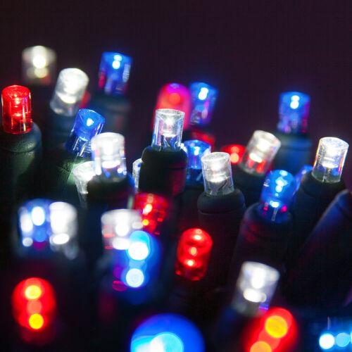 70 Patriotic LED Red White Blue String Lights July 4th Celebration 5mm Lights
