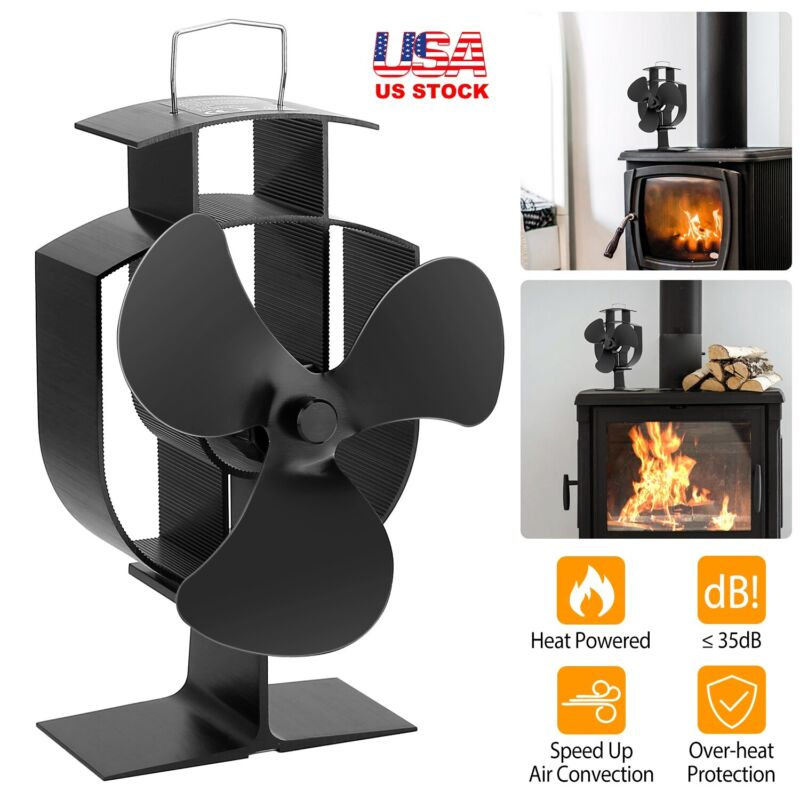 Aluminum Heat Powered Stove Fan for Wood/Log Burner/Fireplace Silent Duarable