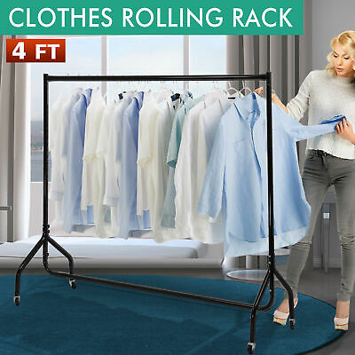 4ft Heavy Duty Adjustable Portable Clothes Dry Hanger Rolling Rack Rail W Wheel