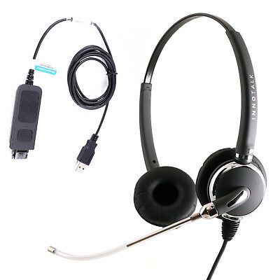 Voice Tube Mic Computer Headset, Plantronics Compatible USB Headset Adapter