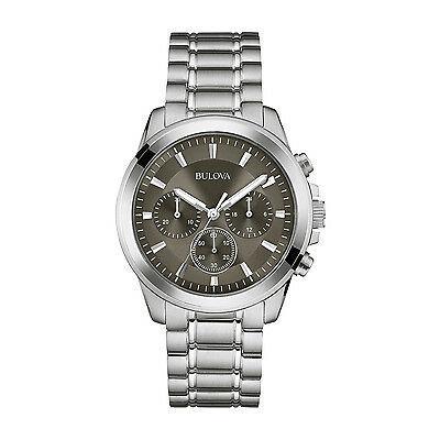 Bulova Men's Quartz Chronograph Gray Dial Silver Tone Bracelet 40mm Watch 96A180