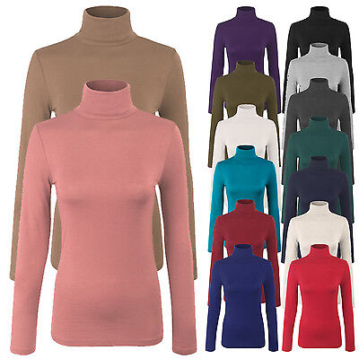 Women's Turtleneck Long Sleeve Basic Solid Fitted Shirt with Stretch S,M,L Long Sleeved Turtleneck