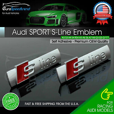 2x Audi S-Line Side Emblem Fender OEM Sport Badge A1 A3 A4 A5 A6 A7 A8 Q5 Q7 TT