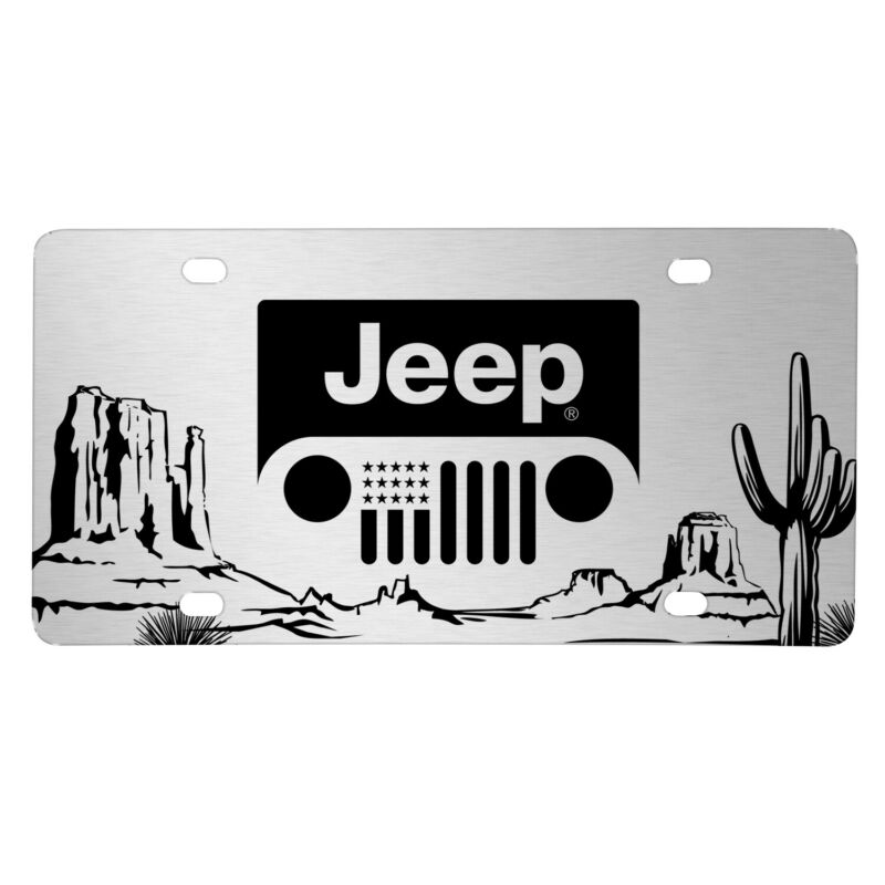 Jeep Grill Logo on Desert Cactus Graphic Brush Silver Aluminum License Plate