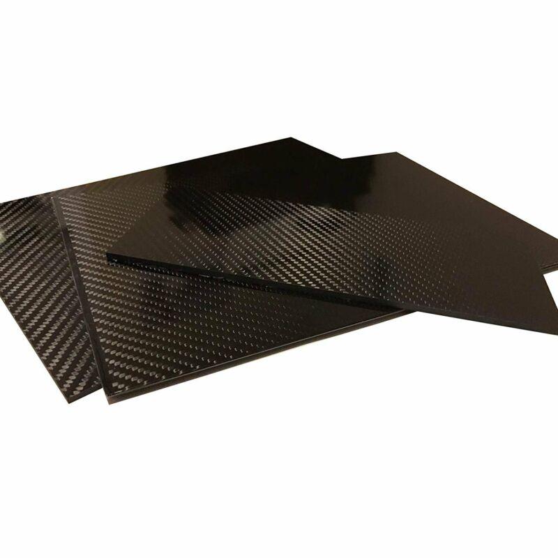 (2) Carbon Fiber Plate - 100mm x 250mm x 1mm Thick - 100% -3K Tow, Plain...