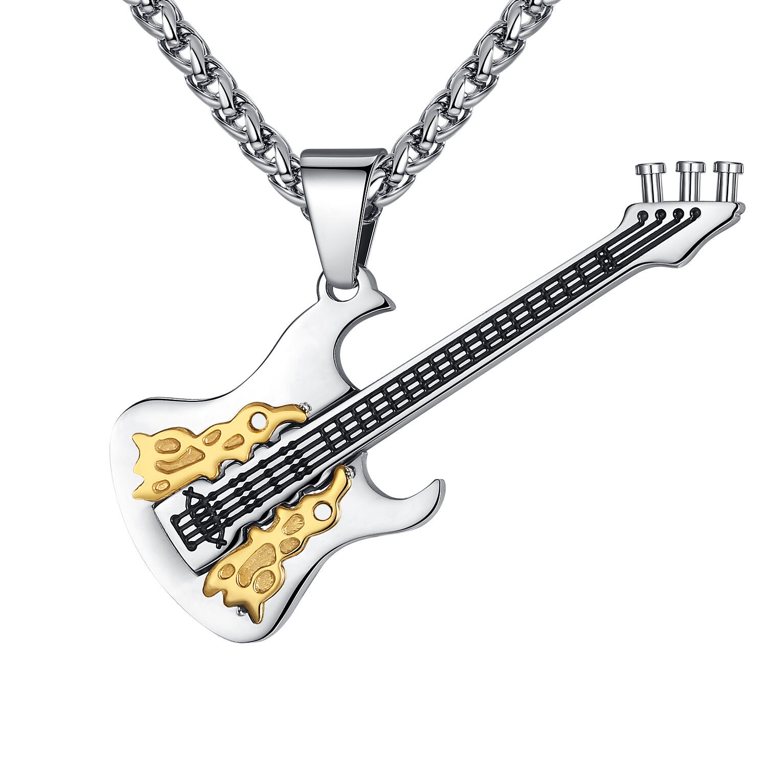 Men's Stainless Steel Rock and Roll Guitar Pendant Necklace Chains, Necklaces & Pendants