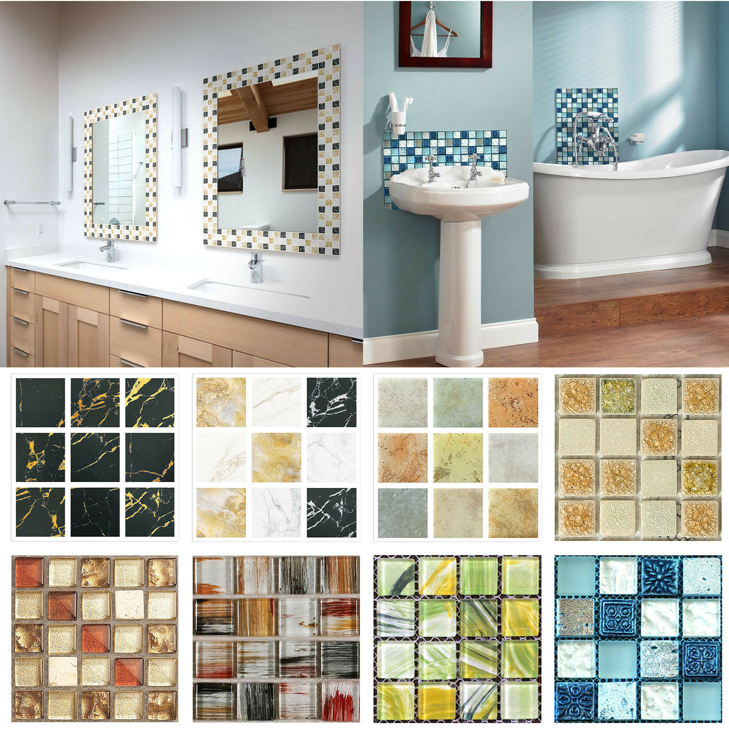 Home Decoration - 20pcs/set 3D DIY Waterproof Self Adhesive Wall Stickers Mosaic Tile Home Decal