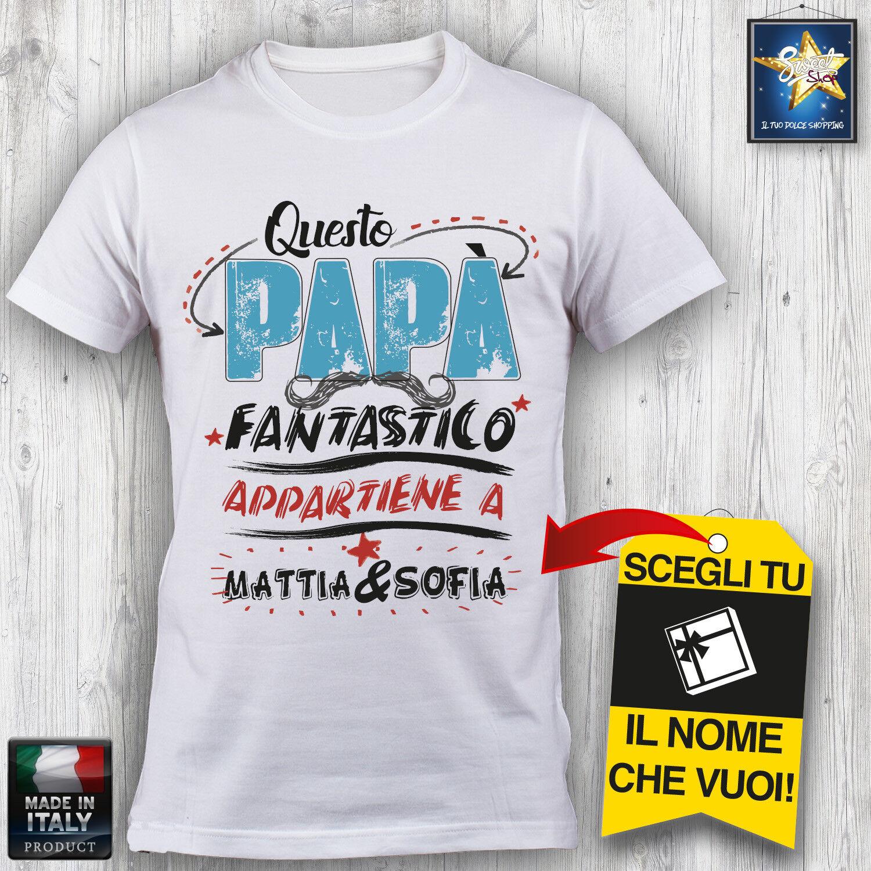 T shirt Uomo PAPA Personalizzata NOME A TUA SCELTA! Festa del Papà Idea regalo